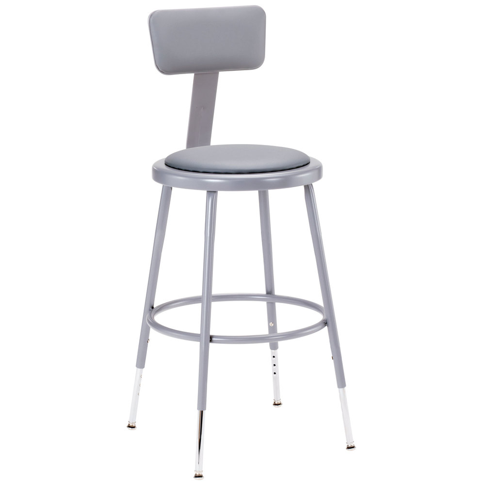 Exceptional National Public Seating 6418HB 19 Inch   27 Inch Gray Adjustable Round  Padded Lab Stool With