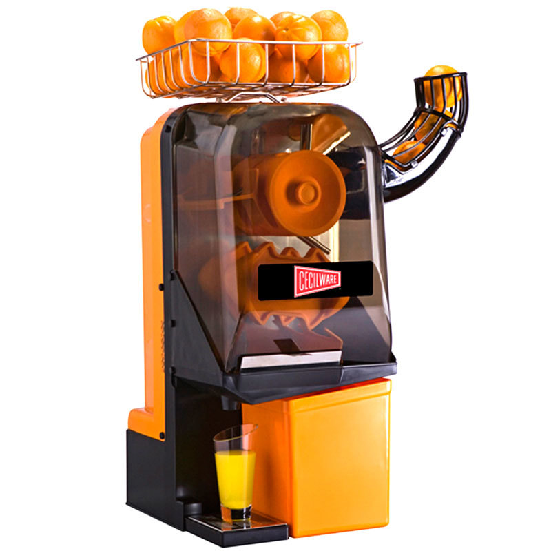 Commercial orange juice machine loaded with fresh oranges, dispensing juice into a glass