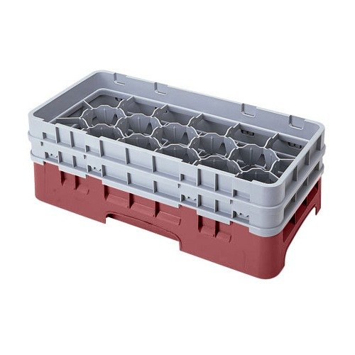 "Cambro 17HS318416 Camrack 3 5/8"" High Customizable Cranberry 17 Compartment Half Size Glass Rack"