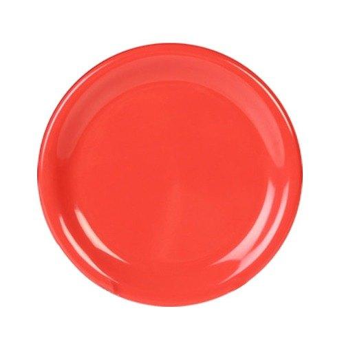 """Thunder Group CR006RD 6 1/2"""" Orange Wide Rim Melamine Plate - 12/Pack"""