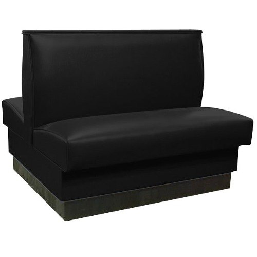 """American Tables & Seating QAD-42 42"""" Black Plain Double Back Fully Upholstered Booth - Quick Ship"""