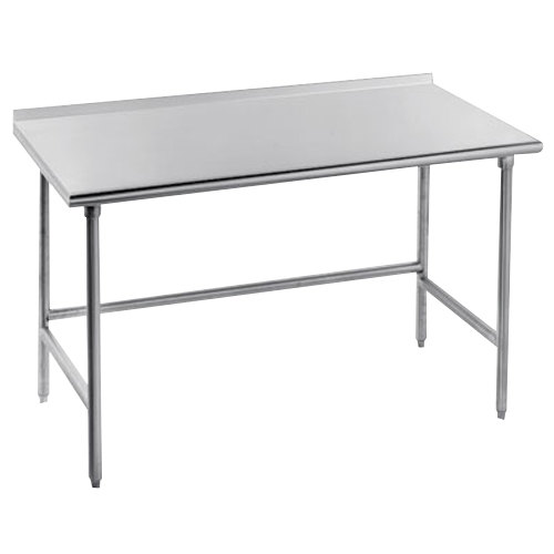 """Advance Tabco TFMS-244 24"""" x 48"""" 16 Gauge Open Base Stainless Steel Commercial Work Table with 1 1/2"""" Backsplash"""
