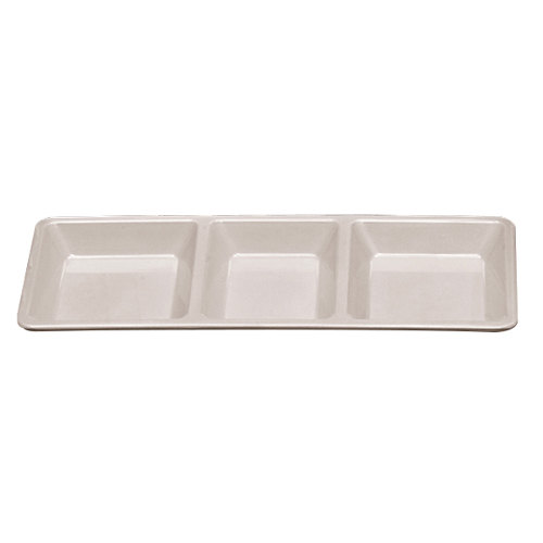 Thunder Group PS5103W Passion White Melamine Rectangular 3 Section Compartment Tray - 6/Pack
