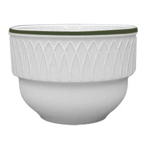 Homer Laughlin 1430-0383 Green Jade Gothic 7 oz. Off White Stacking Bouillon Cup - 36/Case