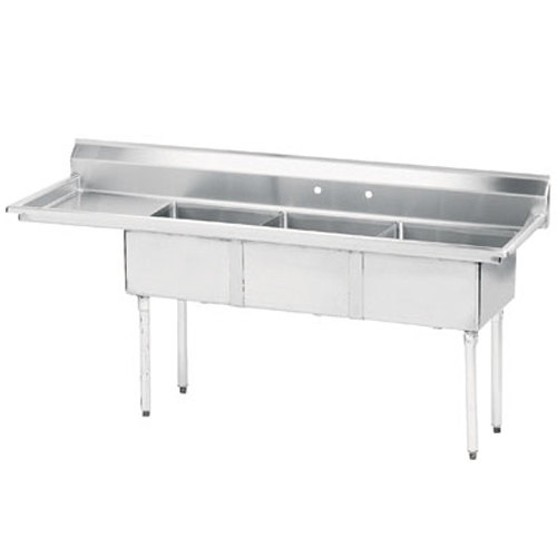 ... Stainless Steel 3 Compartment Commercial Sink with 1 Drainboard - 62 1