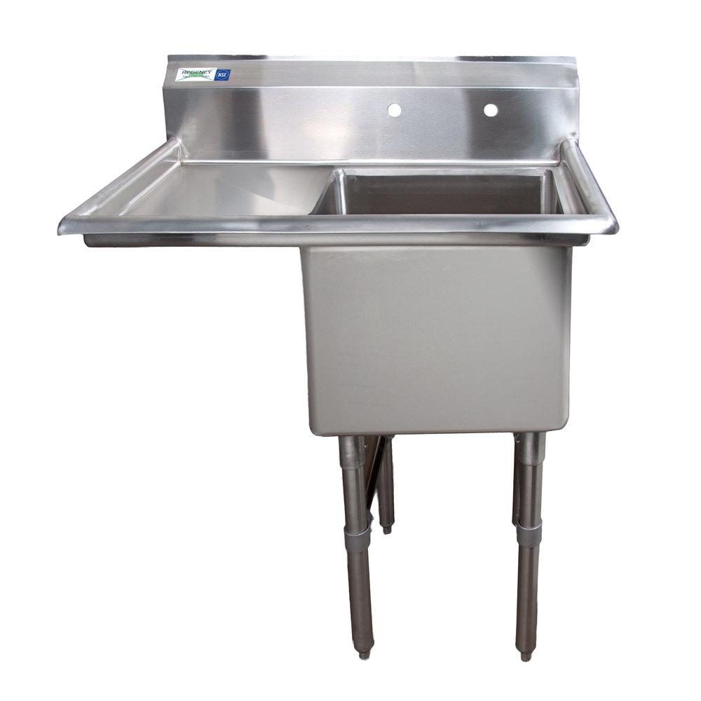 regency 38 1 2 inch 16 gauge stainless steel one compartment commercial sink with     stainless steel sink legs   webstaurantstore  rh   webstaurantstore com