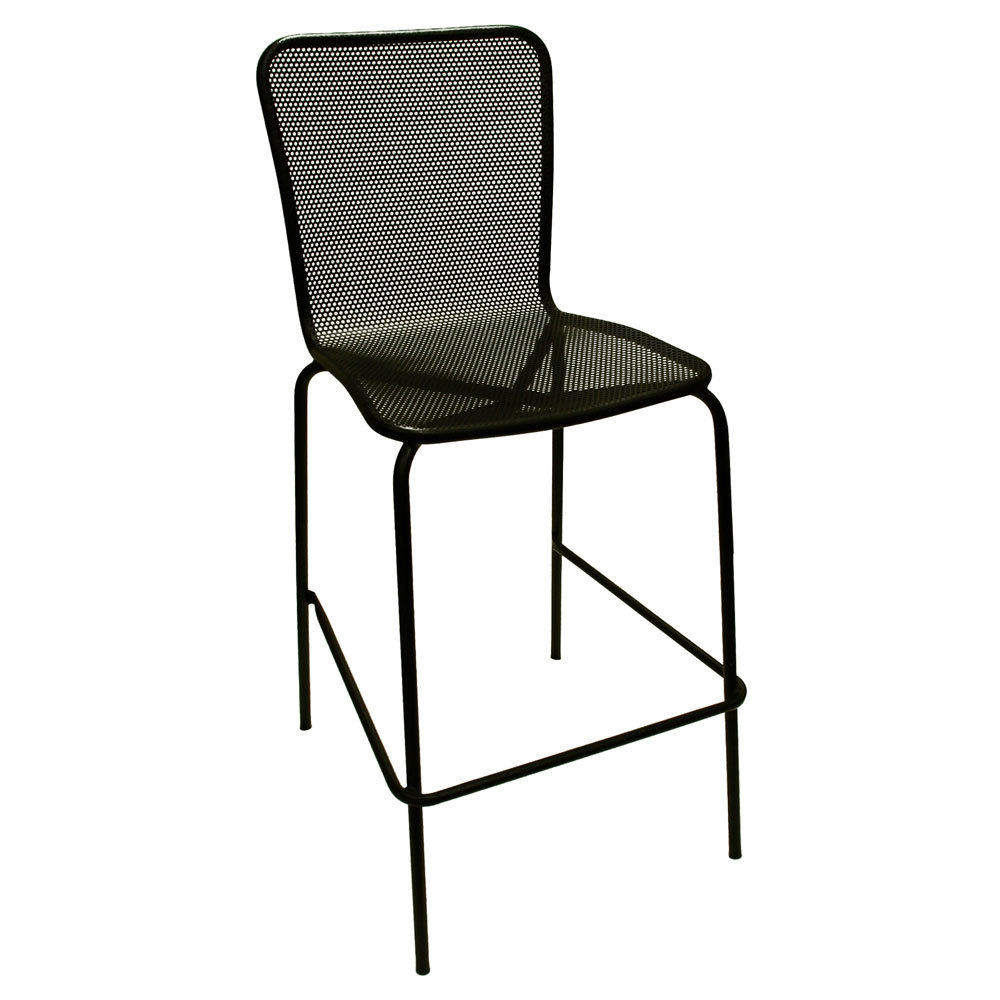 American Tables And Seating 92 Bs Black Mesh Outdoor Bar Stool