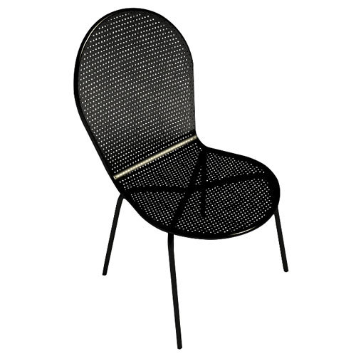 American Tables and Seating 94 Black Outdoor Chair with Rounded Seat and Seat Back Main Image 1