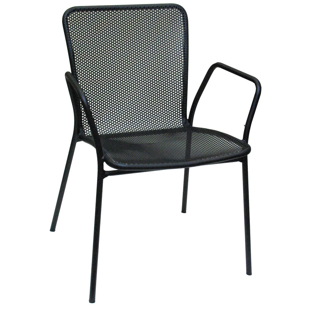 American tables and seating 91 black outdoor chair with arms for Mesh patio chairs