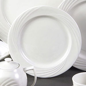 "CAC GAD-7 Garden State 7 1/4"" Bone White Round Porcelain Plate - 36/Case Main Image 1"