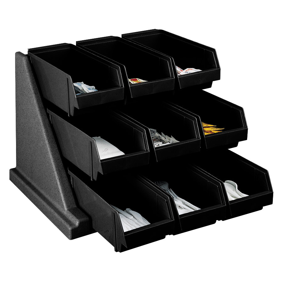 "Cambro 9RS9110 Black Versa Self Serve Condiment Bin Stand Set with 3-Tier Stand and 12"" Condiment Bins"