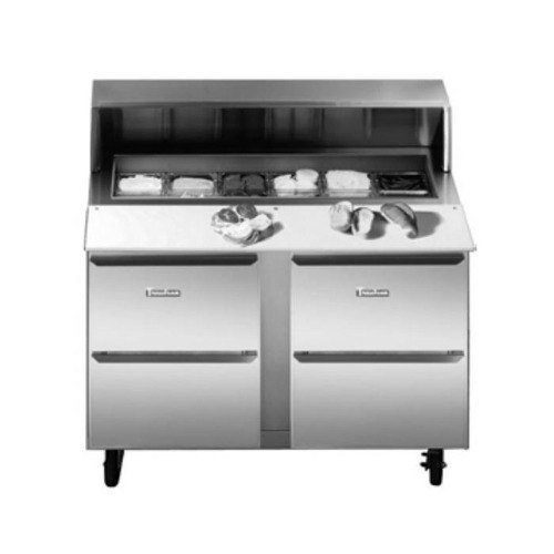 """Traulsen UPT6024-DD-SB 60"""" 4 Drawer Stainless Steel Back Refrigerated Sandwich Prep Table"""