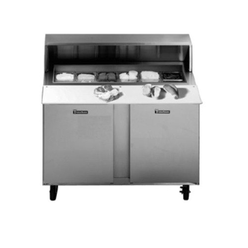 """Traulsen UPT488-LR-SB 48"""" 1 Left Hinged 1 Right Hinged Door Stainless Steel Back Refrigerated Sandwich Prep Table"""