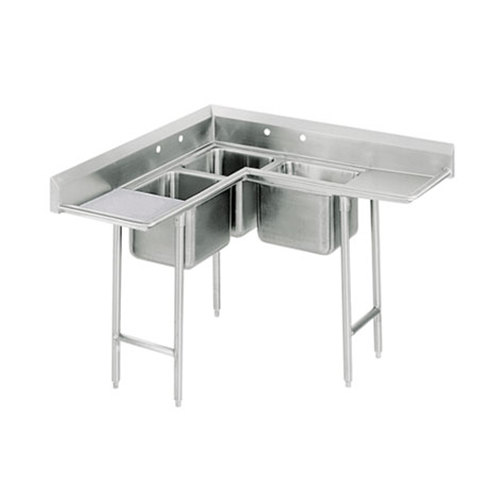 three compartment kitchen sink advance tabco 94 k3 11d three compartment corner sink with 6107