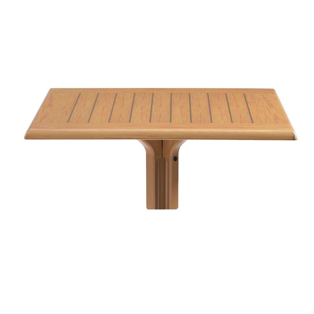 grosfillex 99872108 36 x 36 teak decor square molded melamine outdoor table top. Black Bedroom Furniture Sets. Home Design Ideas