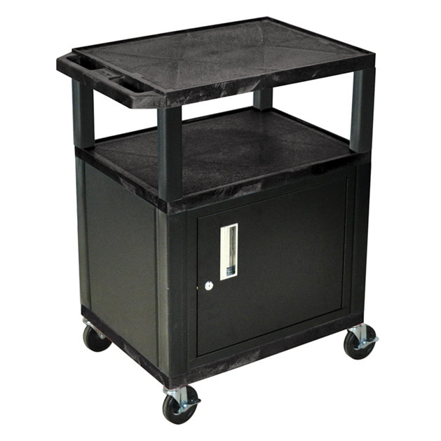 "Luxor WT34C2E Black Tuffy Two Shelf A/V Cart with Locking Cabinet - 24"" x 18"" x 34"""