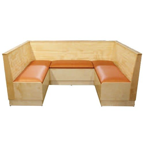 """American Tables & Seating AS48-WBBPS12 Bead Board Back Platform Seat 1/2 Circle Wood Corner Booth - 48"""" High"""