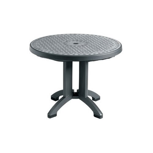 """Grosfillex US711102 Toledo 48"""" Round Resin Pedestal Outdoor Table - Charcoal Base"""
