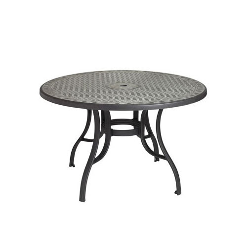 """Grosfillex US526102 Cordoba 48"""" Charcoal Round Resin Pedestal Outdoor Table with Metal Legs"""