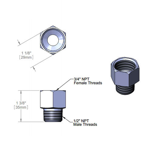 """T&S 006112-25 Adapter with 3/4"""" NPT Female and 1/2"""" NPT Male Connections"""