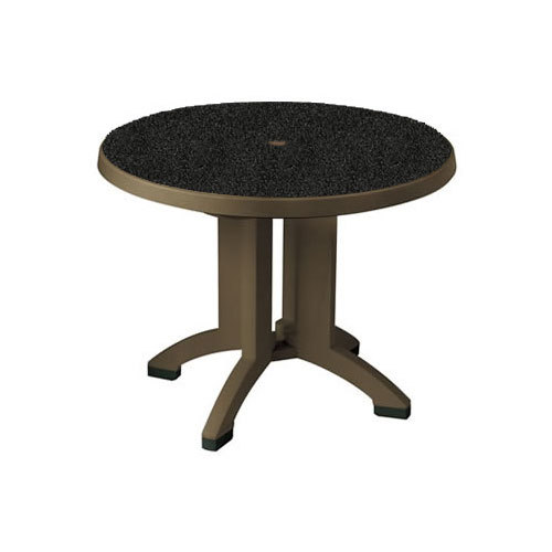 Grosfillex us700002 siena 38 round resin folding outdoor for Table exterieur grosfillex