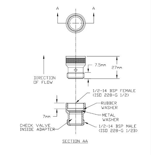 """T&S 010321-45 Check Valve Adapter with 1/2"""" BSP Male and Female Connections Main Image 1"""