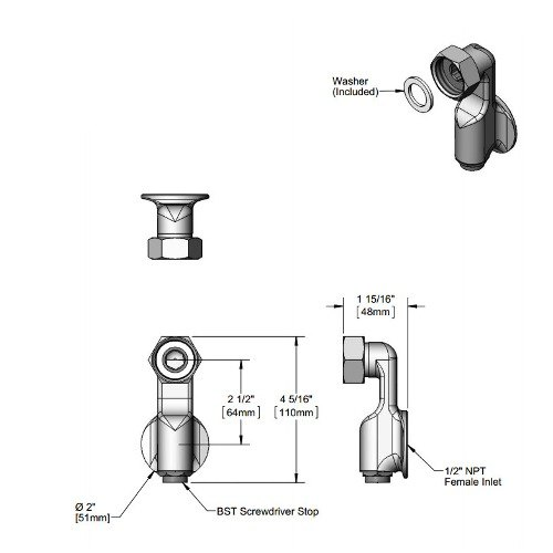 """T&S 00XX-RGH Flanged Adjustable Coupling with 1/2"""" NPT Female Connections"""