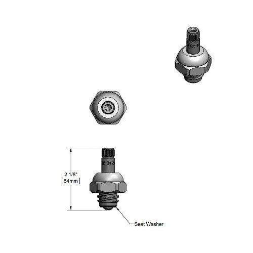 T&S 009753-25 Spindle Assembly for Hot Right to Close B-1100 Faucets