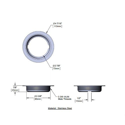 """T&S 010384-45 3 1/2"""" Stainless Steel Waste Drain Face Flange"""