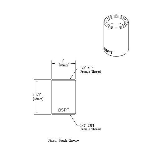 """T&S 011196-25 Adapter with 1/2"""" NPT and 1/2"""" BSPT Female Connections"""