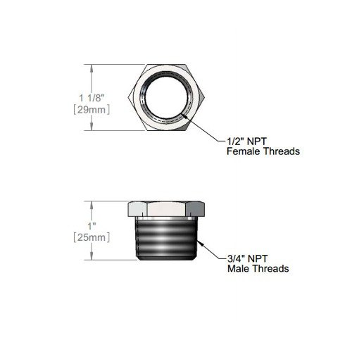 """T&S 011811-25 Chrome Plated Faucet Bushing with 3/4"""" NPTM and 1/2"""" NPTF Connections"""