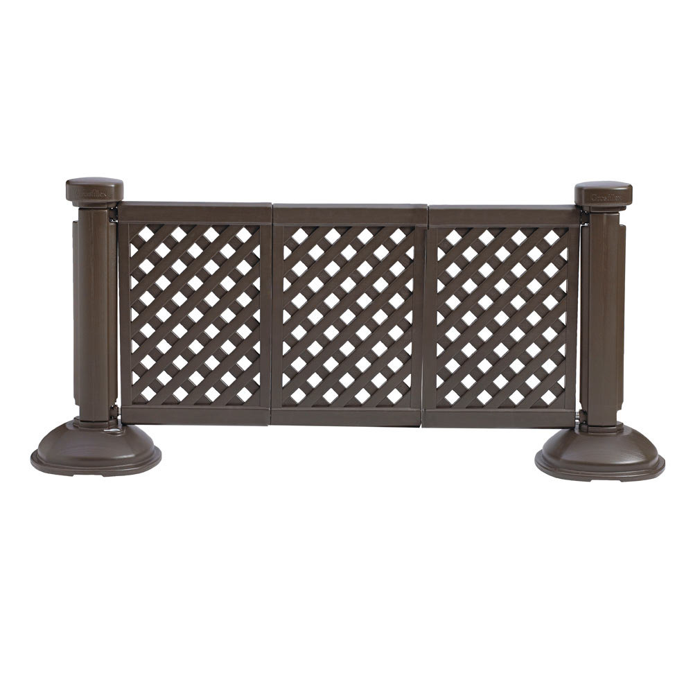 Grosfillex US963423 3 Panel Resin Patio Fence   Brown