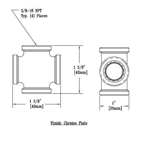 """T&S 016804-40 Chrome Plated Faucet Cross with 3/8"""" NPT Connections"""