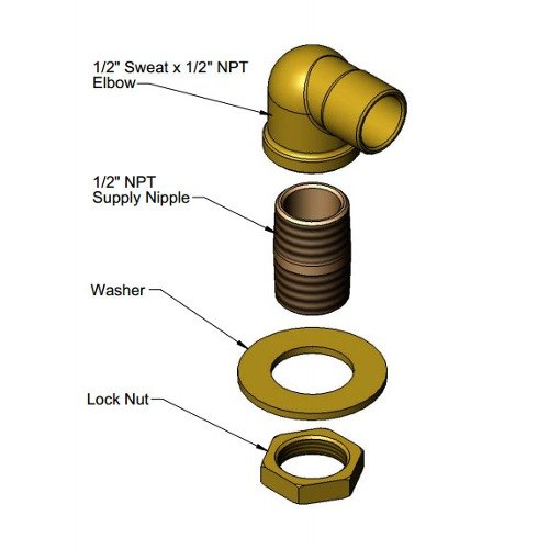 "T&S 016876-45K Power Soak Elbow Kit with 1/2"" Sweat and 1/2"" NPT Connections"