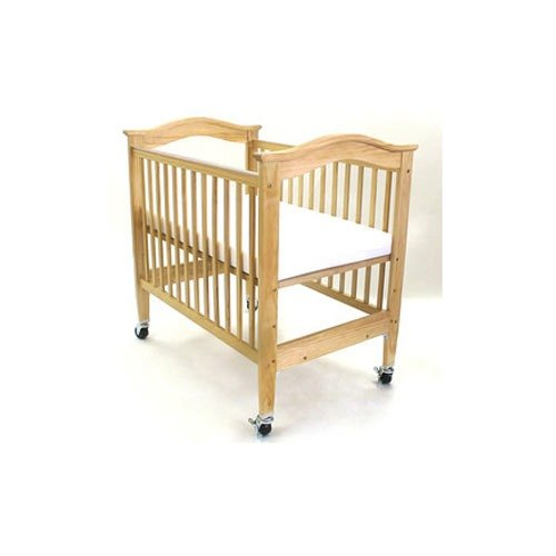 """L.A. Baby CW-560 24"""" x 38"""" Wood Window Crib with 3"""" Vinyl Mattress and Heavy Duty Casters Main Image 1"""