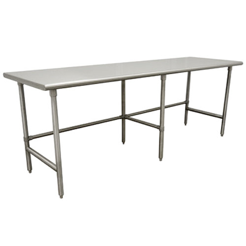"Advance Tabco TMS-3012 30"" x 144"" 16 Gauge Open Base Stainless Steel Commercial Work Table with Stainless Steel Legs"