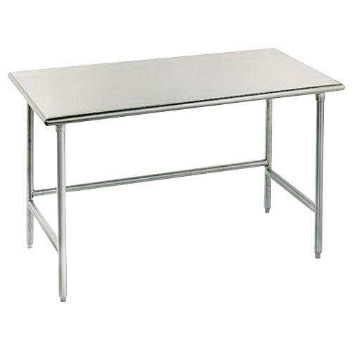"Advance Tabco TMS-307 30"" x 84"" 16 Gauge Open Base Stainless Steel Commercial Work Table with Stainless Steel Legs"