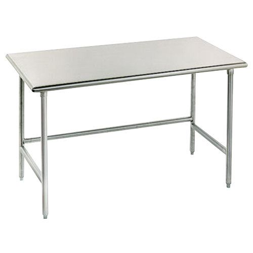 """Advance Tabco TMG-304 30"""" x 48"""" 16 Gauge Open Base Stainless Steel Commercial Work Table with Galvanized Steel Legs"""