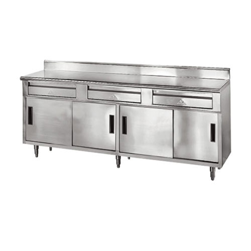 """Advance Tabco SDRC-308 30"""" x 96"""" 14 Gauge Enclosed Base Stainless Steel Work Table with 3 Drawers, 4 Sliding Doors and 5"""" Backsplash"""
