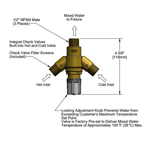 """Equip by T&S 5EF-TMV Thermostatic Mixing Valve with 1/2"""" NPSM Connections"""