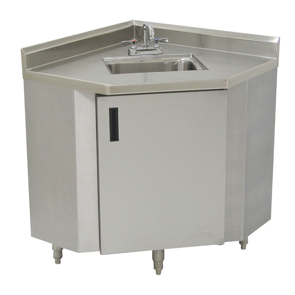 Stainless Corner Sink : Advance Tabco SHK-2441 Stainless Steel Corner Sink Cabinet - 24