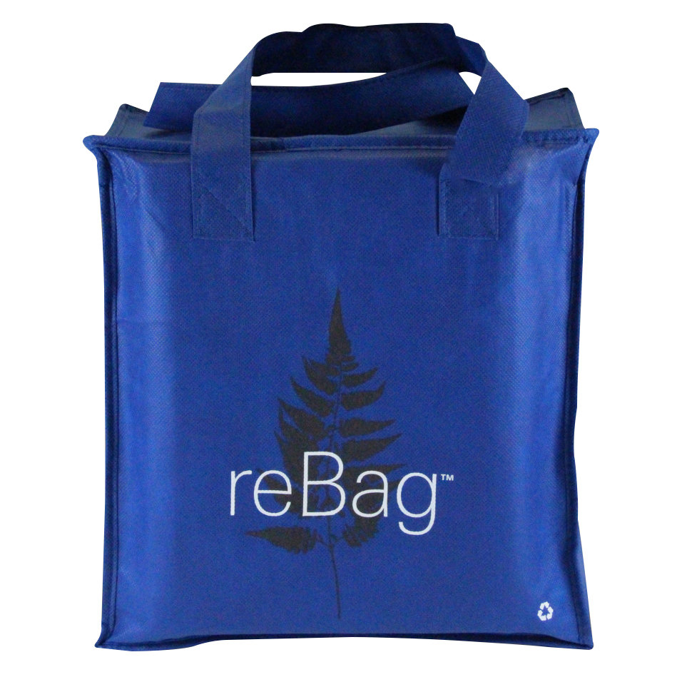 rebag reusable blue thermal grocery shopping bag 25 case