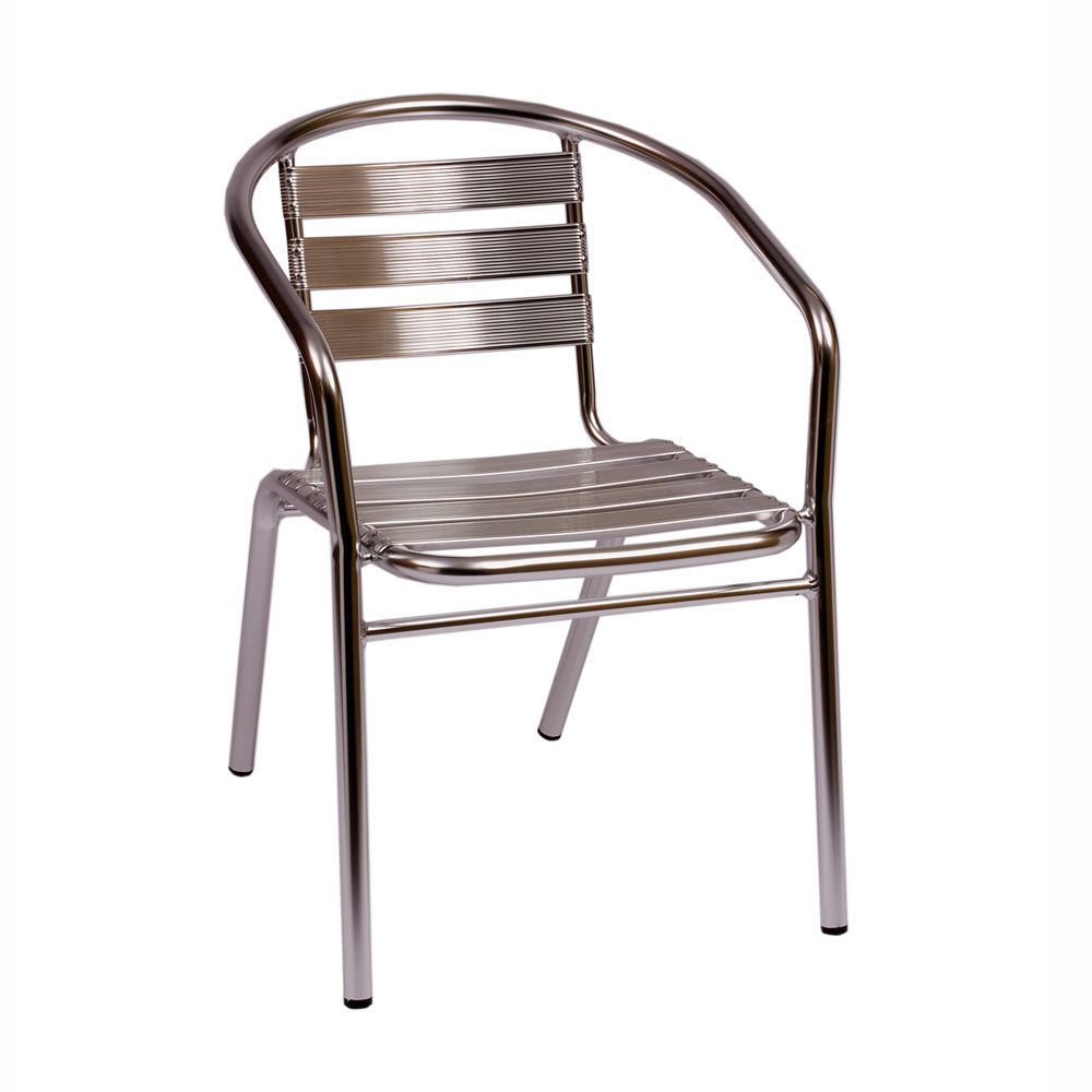 BFM Seating Parma MS0021 Stackable Outdoor Aluminum Chair with Arms