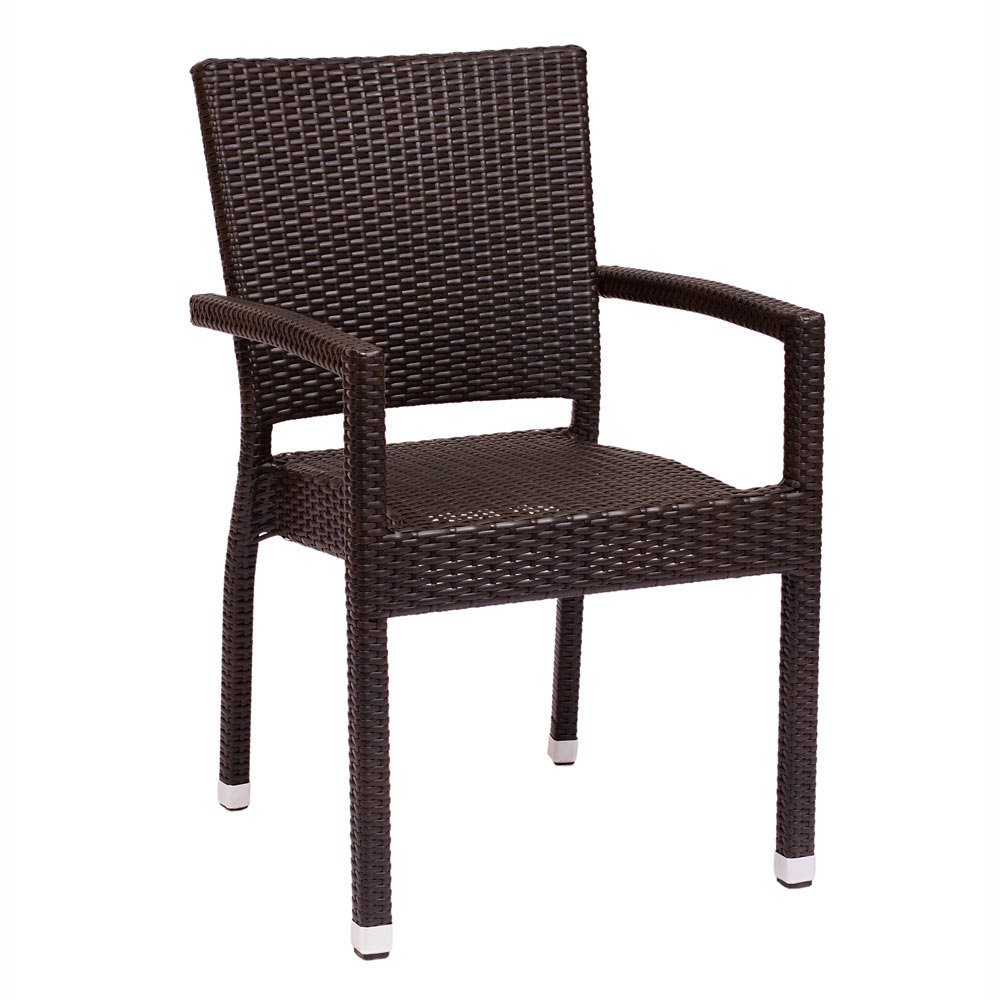 BFM Seating Monterey PH501CJV Stackable Outdoor Wicker Chair with Arms
