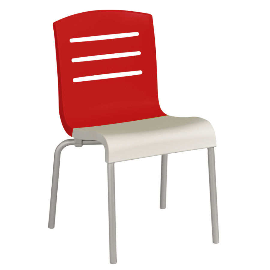 Grosfillex us041414 domino indoor stacking resin chair with red back and white seat 4 pack - White resin stacking chairs ...