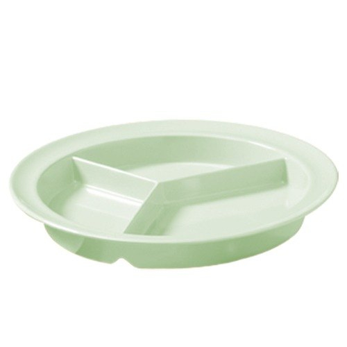 "GET CP-530-G Green 9"" SuperMel Three Compartment Plate - 12/Case"