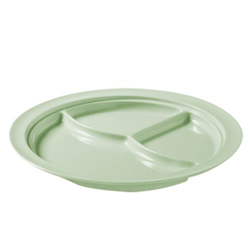 """GET CP-531-G Green 10"""" SuperMel Three Compartment Plate - 12/Case"""
