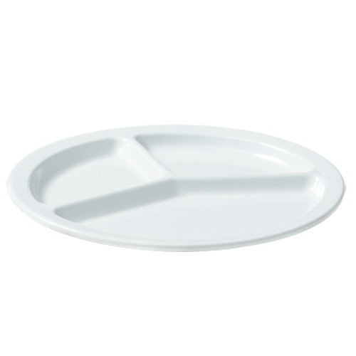 "GET CP-533-W White 10"" SuperMel Three Compartment Plate - 12/Case"