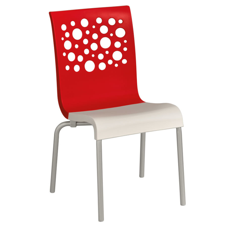 Grosfillex tempo resin indoor stacking chair red back white seat - White resin stacking chairs ...