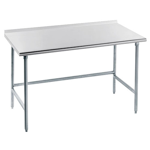 """Advance Tabco TFLG-244 24"""" x 48"""" 14 Gauge Open Base Stainless Steel Commercial Work Table with 1 1/2"""" Backsplash"""